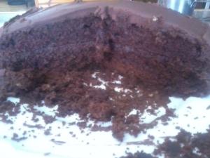Gluten-Free Vegan Chocolate Cake half eaten!  Delish.