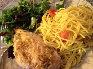garlic brown sugar chicken with garlic aioli pasta