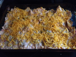 chicken enchilada casserole ready to bake