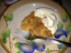 Slice of Crustless Gluten-Free Peach Pie A la Mode