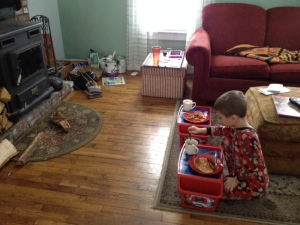 Set up for a movie & breakfast treat with hot cocoa (crabby younger brother on couch)
