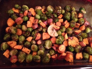 Beautiful cooked sweet potatoes and Brussels Sprouts (both organic)
